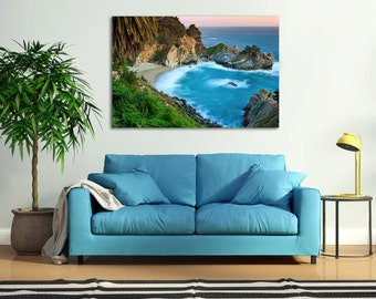 Large Canvas Art, Waterfall Photography, Big Sur California Photo McWay Falls Picture Coastal Decor Beach Artwork Turquoise Teal Blue Orange