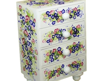 Large Hand Painted Jewelry Box, Jewelry Chest - Multi Color Blue Flowers, Red Roses - Desk Organizer Kitchen Storage Box