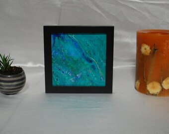 """Abstract Fluid Art with Frame ~ """"Calm"""" ~ 6 in x6 in ~ Original"""
