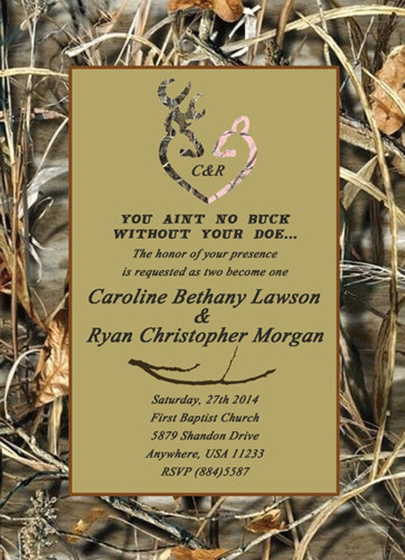 Camo Deer Head Wedding Invitationsbirthday Deer Hunter