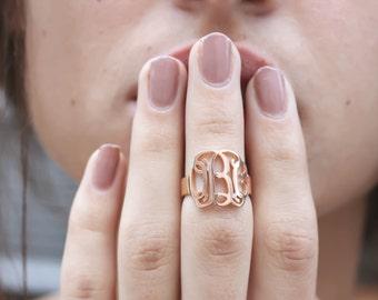 Monogram Ring • Custom Initials Ring • Name Ring • Personalized Monogram • Wedding Gift • Bridesmaid Gifts • Wedding Jewelry • RH04