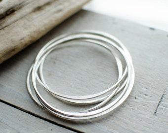 lot 5 bracelet solid silver ring, 2 mm irregular, uni, timeless, weekly, minimalist