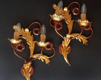SALE Vintage Pair of Italian Wall Sconces with gilt Leaves and burgundy Flowers, Florentine Tole Wall Sconces Bohemian Decor