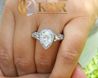 14k white gold pear shape forever one moissanite and natural diamonds engagement ring deco Bridal Wedding Halo deco antique style  2.20ctw