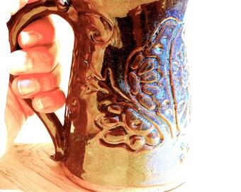 Handmade Pottery Mug - Sugar Skull Puppy Dog