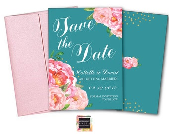 Save the Date Card // Pink Floral Save the date // Peonies // Peony // Flowers // Teal Blue // Pink // Gold Glitter // BORDEAUX COLLECTION