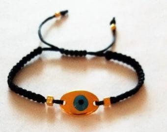 Bracelet, Evil Eye Charm,  Macrame bracelet, Hellas, Handmade, Weddings, Handmade bracelet,  Charm bracelet, Gold