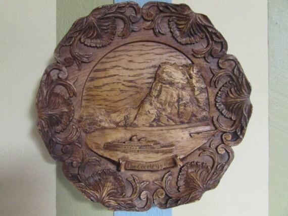 VINTAGE wooden decorative wall plate / mid-century Wood flat Die Loreley rhein / VTG collectible plate