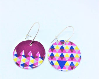 Asymmetrical earrings; recycled metal