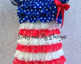 4th of July Patriotic Petti Lace Ruffle Dress size small , medium, or large