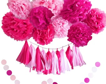 Girl Baby Shower Decoration- Girl Birthday Party Decorations- Pink and Hot Pink Tissue Tassels Garland and Pom Pom Flowers