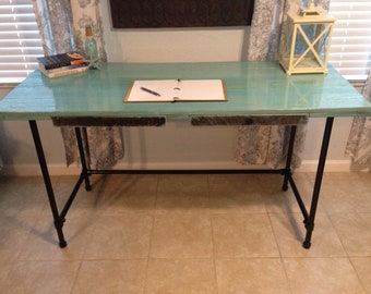 Industrial Pipe Desk with Coastal Blue Top