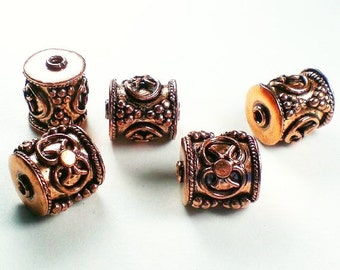 Genuine Copper Beads Big Hole Beads 17mm Barrel Beads Solid Copper Large Hole Bead 3 pcs. GC-337