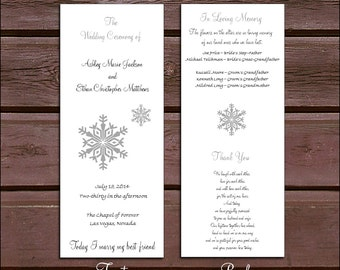 135 Snowflake Wedding Ceremony Programs