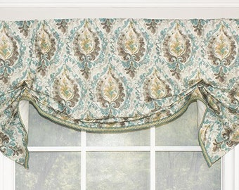 Medallion tucked  valance in indigo,red or green,panels,continental rod
