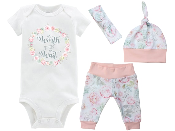 Worth the Wait Onesie Newborn Going Home Outfit Onesie Rose Hydrangea Floral Watercolor Yoga Leggings Knot Hat Headband Infertility Onesie