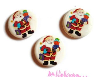 Set of 3 large buttons decorated Christmas 30 mm scrapbooking embellishment 1 *.