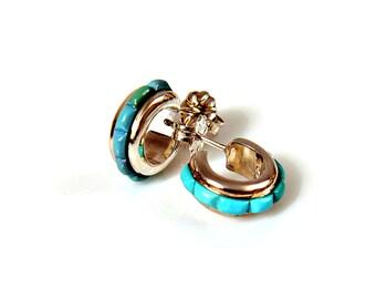 Earrings Sterling Silver Turquoise Stones Inlay Huggie Post Minimal Ear Studs