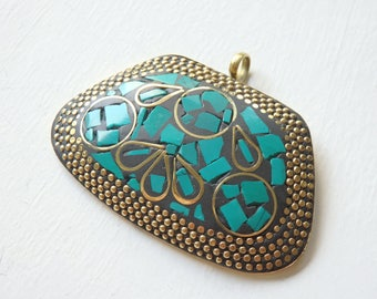 Turquoise & Brass mosaic pendant from Nepal, 61x38mm turquoise pendant, large Nepalese brass pendant, XL ethnic pendant, statement jewellery