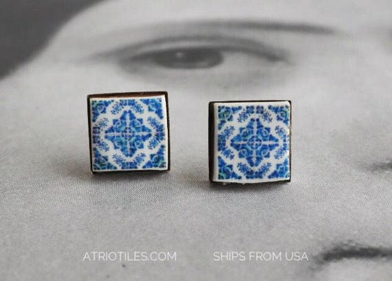 Stud Earrings Blue Tile Portugal Post Antique Azulejo Stainless Steel Hypo allergenic - Foto Lisboa, Ovar 1892 - Ships from USA 645