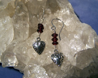 Antique Style Heart and Garnet Bead Dangles ~Sterling Silver~ Hand Cast