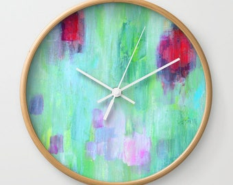 Green Modern Wall Clock with Battery and Wood, Yellow Abstract Art Clock, FREE SHIPPING
