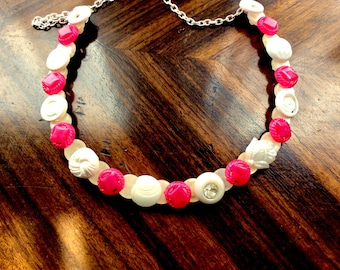 Pretty in Pink Button necklace