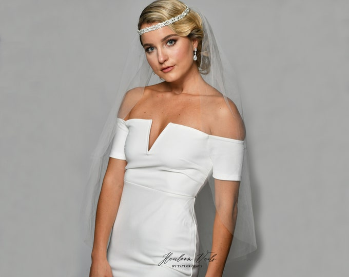 Wedding Veil Tiara, Bridal Veil Veil, Multiple Lengths and Colors, Customized Wedding Veil SC-tiara B24
