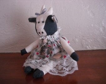Vintage Cloth Cow Doll, 1980's
