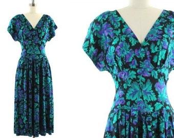 SALE green flowered dress • vintage 80s midi dress • floral print dress • long flowered dress S/M