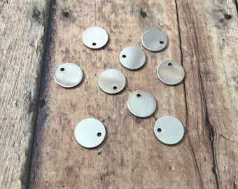 """20 Stainless Steel Discs (10mm 3/8"""") - stainless steel stamping blanks, hand stamping supplies, 10mm blank, stainless steel pendants"""