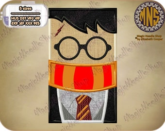 Harry Potter applique embroidery design. Harry Potter Machine Embroidery Design. Instant download. #002-25