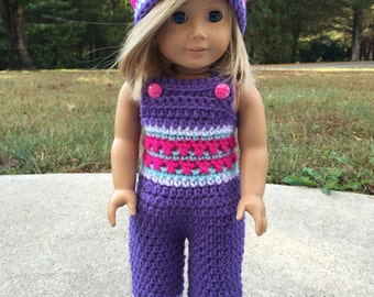 "Purple & Pink 18"" Doll Crochet Overalls w/ Matching Hat"