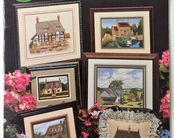 English Cottages - vintage counted cross stitch booklet - Cross My Heart Inc.