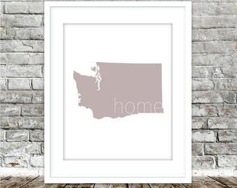 WASHINGTON STATE | PNW Home Decor, Neutral Wall Decor, Digital Download, Geography, Modern Wall Decor, Wall Decor, Minimalist Art, State Art