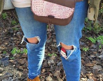 Leather fanny pack, fanny pack leather, fanny pack, snake, print, animal print, fanny pack snake, leather hip bag, woman fanny pack