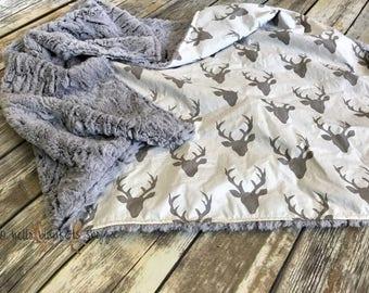 Deer Minky Baby Blanket- Baby Boy- Baby Girl- Woodland- Nursery