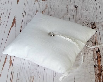 Linen Ring Bearer Pillow, 8 inch square, choose your linen color