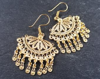 Scallop Fan Shaped Telkari Dangly Gold Ethnic Boho Earrings - Authentic Turkish Style