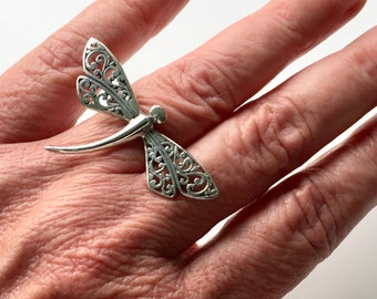 Sterling Silver Dragonfly Insect Statement Ring Size 7