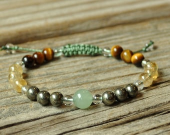 Money Maker, Aventurine, Pyrite, Citrine, Tiger Eye, Meditation Bracelet, Yoga Bracelet, Manifestation, Abundance, Prosperity, Energy