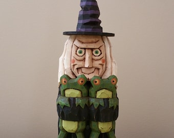 Froggy Witch Primitive Folk Art Woodcarving
