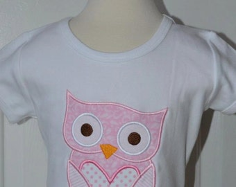 Personalized Valentine's Owl Heart Applique Shirt or Bodysuit Girl or Boy