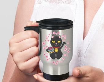 Lucky cat travel mug  - black maneki neko mug for good luck