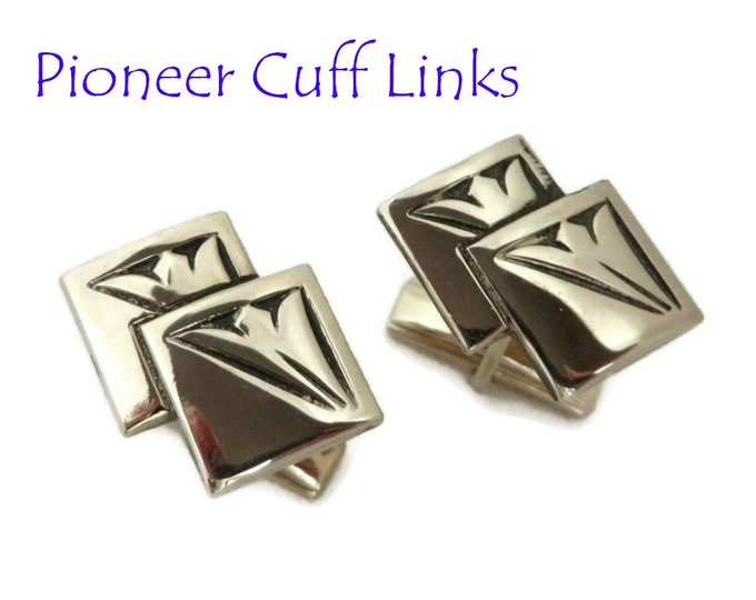 Pioneer Silver Tone Cuff Links, Vintage Double Square Cufflinks, Men's Suit Accessory, Gift for Him