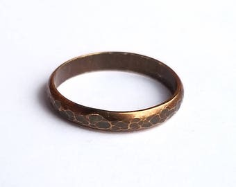 Hammered Brass Band Ring Size 7 Alternative Wedding Band Rustic Antique Bohemian Style