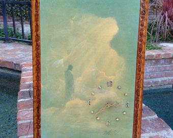 Jesus Clock Varnished Print On Wood With Clock