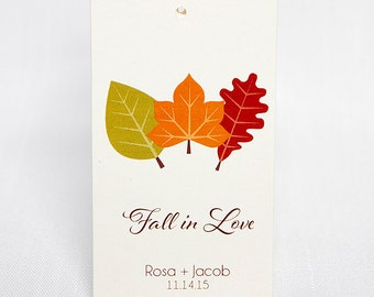 Fall In Love Favor Tags, Customized Wedding Tags, Autumn Wedding Favor Tags  (BC-042)