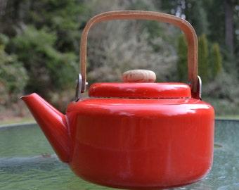Vintage Red Enamel Teapot