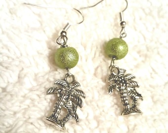 FINAL SALE Palm Trees earrings silver and green